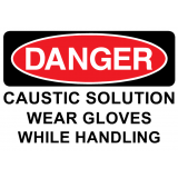 CAUSTIC SOLUTION WEAR GLOVES WHILE HANDLING